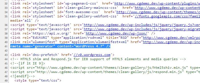 WordPress Generator Meta Tag